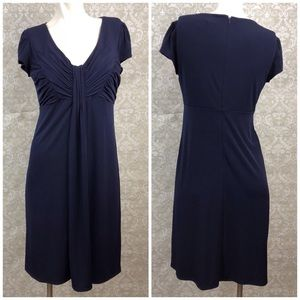🌞Laundry by Shelli Segal Navy Gather Dress